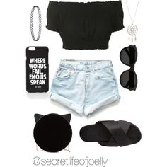 Casual Black Summer Outfit by joelle-galaviz on Polyvore featuring polyvore, fashion, style, Topshop, Levi's, Charlotte Russe, Charlotte Olympia, Yves Saint Laurent and Jac Vanek