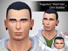 """""""Augustus"""" Hair + Chin StubbleAnother hair and facial hair combo! Inspired by Sims 2/3's CaesarHair, I present to you the """"Augustus"""" Hair (Augustus was Caesar's son heh) along with a new chin stubble that both come in the default 18 colors. Enjoy!! :D Download"""