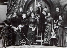 Girton College fire brigade  [I love this photo so much! Imagine trying to climb a ladder in those outfits...]