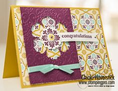 handmade card ... like the design of this card ... main layer of patterned paper ... column of solid color paper embossed and Blossom punch negative space ... flower center layers attached to base card ... clever designing ... Stampin' Up!