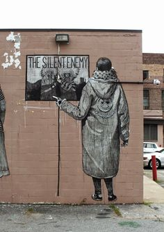 "Street art   Mural ""The Silent Enemy"" (Living Walls, Atlanta, Georgia, USA) by SAN [aka Daniel Muñoz]"