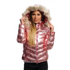 Faux-Fur-Trim Hooded Puffer Jacket in Shiny PINK