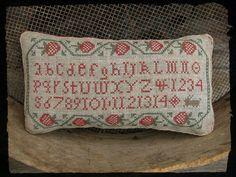 Strawberry Sampler Primitive Cross Stitch by primitivebettys, $10.00