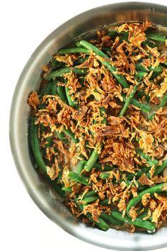 AMAZING Vegan Green Bean Casserole - 10 ingredients, 30 minutes, SO creamy and delicious! #vegan #minimalistbaker