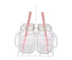 Set de 4 mugs de cristal con tapa y pajita - 0,4 L