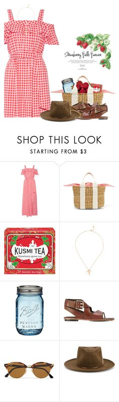 """Strawberry Festival"" by hollowpoint-smile ❤ liked on Polyvore featuring Draper James, Muuñ, Kusmi Tea, Chan Luu, AG Adriano Goldschmied, Tod's, Ray-Ban and Nick Fouquet"