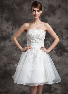 A-Line/Princess Strapless Knee-Length Organza Wedding Dress With Lace (002024081) - JJsHouse