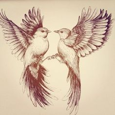 Flying bird drawing by Linn Warme