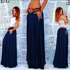 New Arrival Autumn And Winter Full women Maxi Skirt Pleated Skirts solid blue street Clothes Casual long Skirt plus size