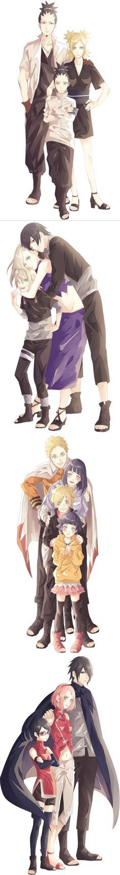 "The best part is that this artist draws every single one of them so in character. ShikaTema + Shikadai, SaiIno + Inojin, NaruHina + Boruto + Himawari, SasuSaku + Sarada <a class=""pintag"" href=""/explore/naruto/"" title=""#naruto explore Pinterest"">#naruto</a>"
