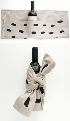 House warmimg. Wrap a wine bottle in a cute tea towel.