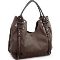 2-tone belted accent hobo handbag - FREE SHIPPING