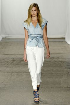 Ophelie in bleached denim t-shirt and cream silk pant #SS13