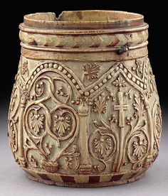 Pyxis with Crosses and Vine Scrolls Date: century Geography: Made in, Syria (?) Medium: Ivory with red paint added later Byzantine Art, Medieval Art, Ivoire, Ancient Artifacts, Ancient Civilizations, Christian Art, Islamic Art, Ancient History, Art And Architecture