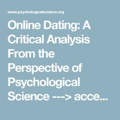 online dating a critical analysis from the perspective