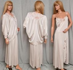 Vintage Henson Kickernick Satin Lace Cocoon Batwing Peignoir Nightgown Set Lingerie #SomeLikeItUsed