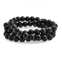 Bling Jewelry Set of 3 Stackable Black Onyx Gemstone Bead Stretch Bracelet 8mm