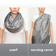 Soins infirmiers couverture Scarf - foulard infini gris avec motif floral / allaitement Écharpe