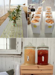 cranberry lime seltzer and grapefruit pineapple ginger ale that guests could mix with vodka and gin