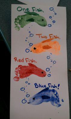 Dr. Seuss inspired footprint fish