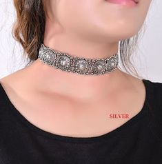 2016 Hot Boho Choker Collar Necklace Statement Jewelry Silver for womenFashion Ethnic style Bohemian Vintage Turquoise Beads Neck by Thailand Chocker Necklace, Collar Necklace, Chokers, Pendant Necklace, Necklace Price, Pearl Necklace, Metal Choker, Silver Choker, Silver Rings