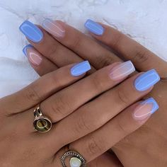 Blue Gel Nails, Bright Nails, Fancy Nails, Pretty Nails, Gorgeous Nails, Acryl Nails, French Tip Nails, Best Acrylic Nails, Dream Nails