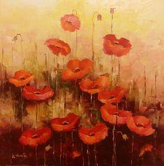 """Și, ce dacă a trecut vara? Ce dacă și toamna-i pe sfarșite? Amintirile din acele zile fierbinți, nu se pierd. Întinse """"mări"""" de grâu, cu soare la apus, """"stropite"""" cu flori de mac ... zărite pe fugă de la geamul unei mașini zorite ... nu, nu se pierd 🥰 Painting, Painting Art, Paintings, Painted Canvas, Drawings"""