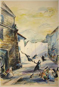 Basque Village Pelota Watercolor by John Groth.
