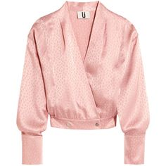 Topshop Unique Silk-jacquard wrap blouse (620 DKK) ❤ liked on Polyvore featuring tops, blouses, shirts, jackets, topshop, pastel pink, pink shirt, pink blouse, snap shirt and wrap tops