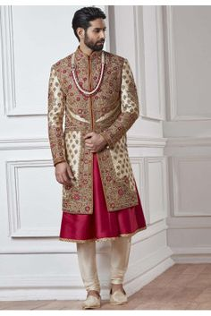 Beige and Brown, Red and Maroon color Sherwani in Silk fabric with Embroidered, Thread, Zardozi work : 1532469 Sherwani Groom, Mens Sherwani, Wedding Sherwani, Wedding Dress Men, Wedding Suits, Maroon Wedding, Wedding Groom, Indian Groom Dress, African Shirts For Men