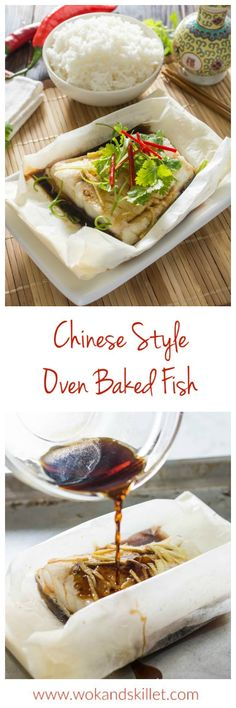 This Chinese Style Oven-Baked Fish is inspired by the classic Chinese steamed whole fish. The fish fillet is oven-baked in parchment paper with fragrant sesame oil and fresh ginger, then the sauce is drizzled on to the fish at the last minute just before serving. The scallions and cilantro on the top add freshness and fantastic flavor. Delicious, easy and healthy!