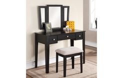 Tri Folding Mirror Vanity Makeup Dresser Table Stool Bench Set 3 Drawers Black *** Check this awesome product by going to the link at the image. Mirrored Vanity Table, Makeup Table Vanity, Vanity Set With Mirror, Vanity Stool, Makeup Tables, Vanity Tables, Black Vanity, Makeup Dresser, Makeup Stool