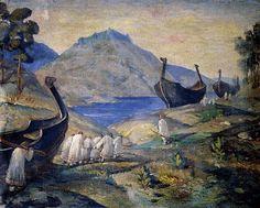 Viking ships being portaged across land