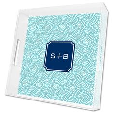 Boatman Geller Personalized Bursts Teal Lucite Square Tray BGLTQ46INSP07SI02A03