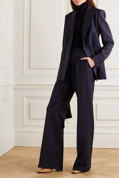 Navy wool-blend Concealed hook and zip fastening at front wool, Lycra; Edgy Outfits, Office Outfits, Classy Outfits, Cool Outfits, Wide Trousers, Wide Leg Pants, Business Outfits, Business Attire, Suit Fashion