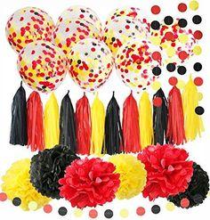 Mickey Mouse Party Decorations Yellow Black Red Tissue Paper Fans Mickey Mouse Birthday Decorations//Tissue Paper Pom Pom Mickey Garland Baby Shower Decorations//Mickey Mouse Party Supplies Qian/'s Party