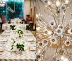 gold and white chevron table