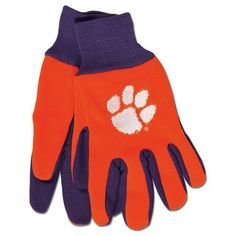 Clemson Tigers Gloves Two Tone Style Adult Size