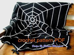 Love Crochet: Crochet Pattern ( PDF) to make your own Halloween Spider Web Crochet blanket, afghan, throw Crochet Afghans, Afghan Crochet Patterns, Crochet Blankets, Crochet Stitches, Knitting Patterns, Crochet Teddy, Love Crochet, Knit Crochet, Crochet Humor