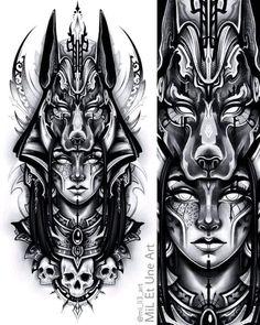 Osiris Tattoo, Anubis Tattoo, Chicano Tattoos Sleeve, Best Sleeve Tattoos, Diamond Tattoo Designs, Tattoo Sleeve Designs, Egyptian Queen Tattoos, Athena Tattoo, Hip Thigh Tattoos