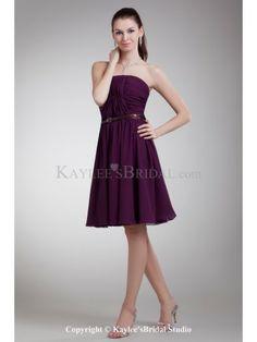 Chiffon Strapless Knee Length Column Sash Cocktail Dress