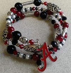 Alabama Crimson Tide Memory Wire bracelet #alabamacrimsontide #rolltide #bama