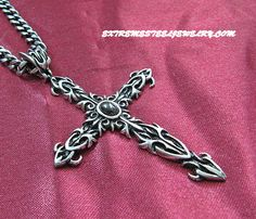 316L Surgical Steel Black Stone Inlay Large Cross Pendant