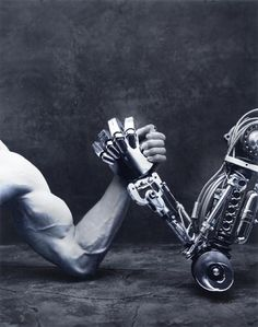This picture is a good representation of the singularity theory. It represents technology becoming just as strong as we are.   http://www.ted.com/talks/ray_kurzweil_on_how_technology_will_transform_us