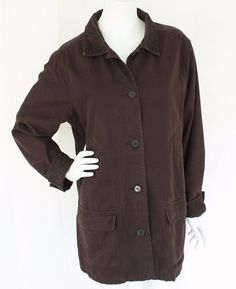 8eb3d51b02 LANDS END Adirondack Barn Coat Brown Field Jacket Corduroy Collar Flannel  Line L