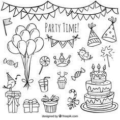 Garabatos dibujados a mano de cumpleaños, disponibles en vector.