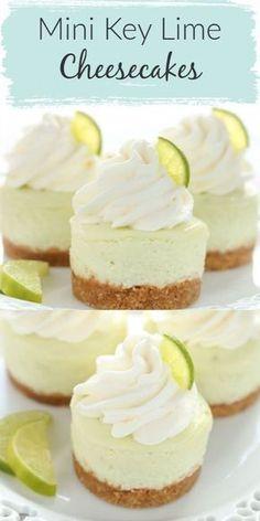Mini Cheesecake Cupcakes, Mini Cheesecake Recipes, Mini Cheesecakes, Cupcake Recipes, Baking Recipes, Cheesecake Bites, Key Lime Cupcakes, Homemade Cheesecake, Cheesecake Crust Recipe Without Graham Crackers