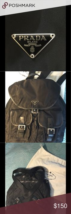 """Prada Backpack Vintage Prada Backpack in pristine condition.  I bought this about 15-20 years ago and used it ONCE!!  I've misplaced the authenticity card over the years, but the indicators of authenticity in the pics (notch out of the 'R' in the logo, signature black lining with Prada name, Prada embossed on hardware, and white tag with random # (16) in the inside of the inner zip pocket).  Comes with the dust bag.  If you purchase with """"buy now"""" Poshmark will authenticate it and then mail…"""