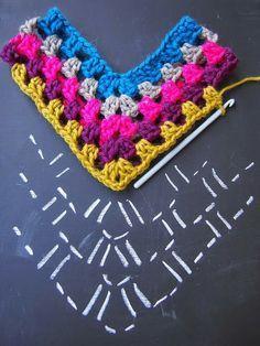 Ideas For Crochet Shawl Pattern Free Diagram - Diy Crafts Crochet Poncho Patterns, Crochet Chart, Crochet Stitches, Free Crochet, Knitting Patterns, Knit Crochet, Free Knitting, Patron Crochet, Scarf Patterns