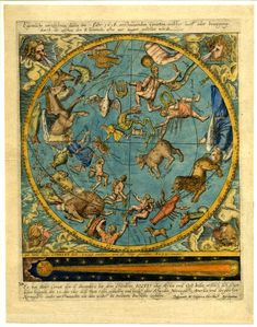 A map of the celestial globe with comet. 1618 Engraving illuminated in watercolour and gold Producer namePublished by: Caspar Hersbach  School/styleGerman  Date1618